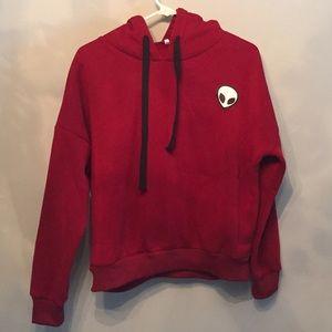 Deep red alien hoodie 👽